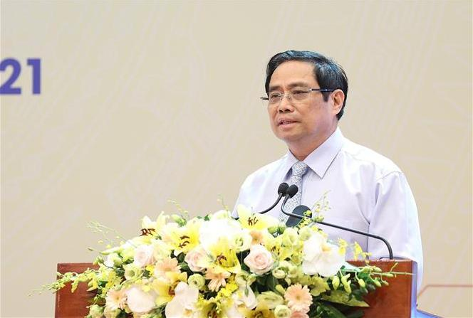 Thủ tướng Chính phủ Phạm Minh Chính phát biểu tại hội nghị. Ảnh: TTXVN