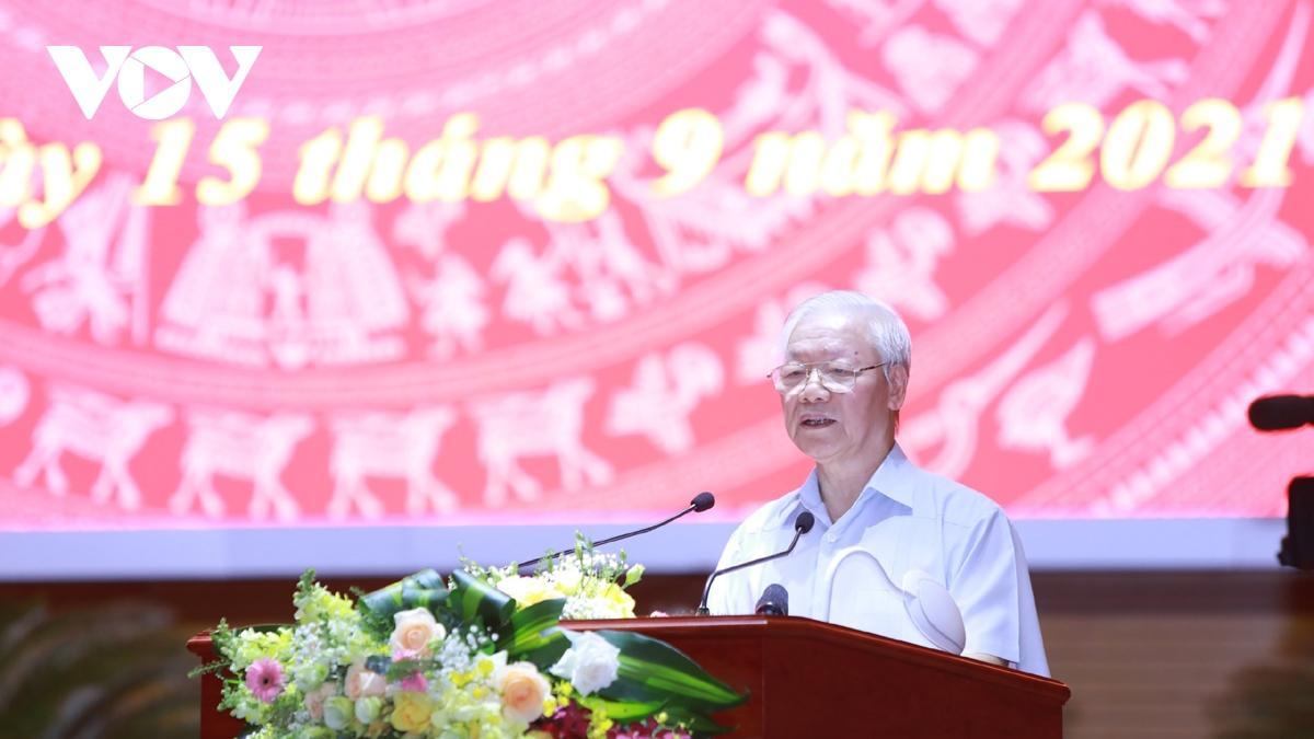 Tổng Bí thư Nguyễn Phú Trọng phát biểu chỉ đạo tại hội nghị. Ảnh: VOV