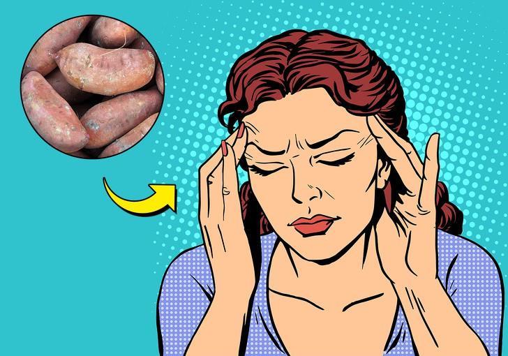 Khoai lang không chỉ ngon mà còn giúp bạn đẩy lùi cơn đau nửa đầu. Khoai lang giàu vitamin C, vitamin B1 và kali, tiêu thụ khoai lang khi bạn đang bị đau đầu sẽ làm giảm cơn đau và giúp bạn dần bình thường trờ lại.