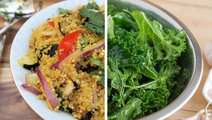 Ngoài tất cả các lợi ích sức khỏe đã biết, quinoa và cải xoăn cũng giúp ngăn ngừa chứng đau nửa đầu. Vì có chứa riboflavin, magiê và sắt nên quinoa giúp giảm đau nửa đầu rất hiệu quả. Trong khi đó cải xoăn có omega-3 và chất xơ ngăn ngừa chứng đau nửa đầu tái phát.