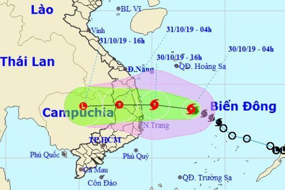 Hướng di chuyển trong những ngày tới của bão số 5.