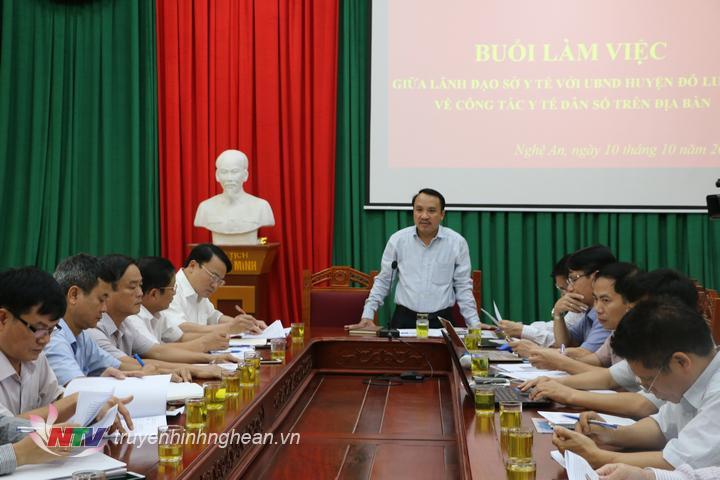 Giám đốc Sở Y tế Dương Đình Chỉnh phát biểu kết luận buổi làm việc.