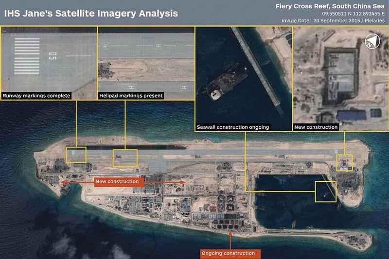 Hình ảnh vệ tinh bãi Chữ Thập bị Trung Quốc cải tạo phi pháp thành đảo nhân tạo và đang xây dựng một số công trình trên đó.
