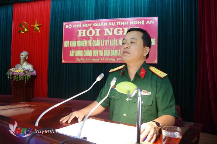 Đại tá Nguyễn Ngọc Hà - Chỉ huy trưởng bộ CHQS tỉnh kết luận hội nghị