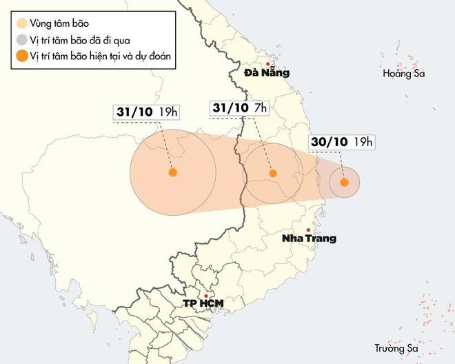 Đường đi và vùng ảnh hưởng của bão số 5 khi đổ bộ vào đất liền.