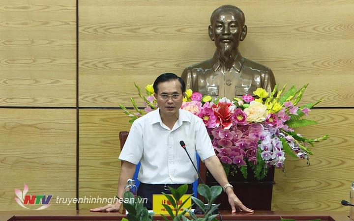Phó Chủ tịch UBND tỉnh Lê Ngọc Hoa phát biểu kết luận buổi làm việc.