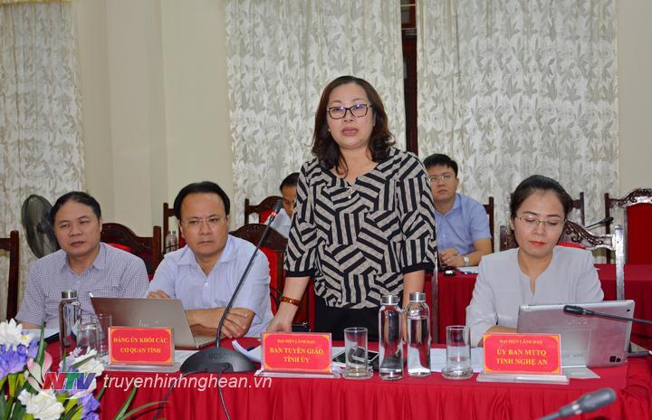 Đồng chí Nguyễn Thị Thu Hường - Ủy viên Ban Thường vụ, Trưởng ban Tuyên giáo Tỉnh ủy phát biểu tại cuộc làm việc.