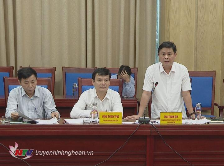 Chủ tịch UBND tỉnh Thái Thanh Quý phát biểu tại buổi làm việc.