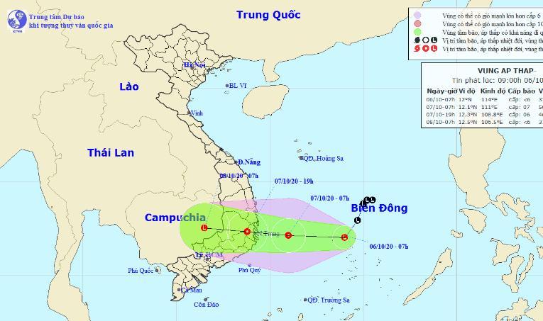 Vùng áp thấp trên biển Đông.