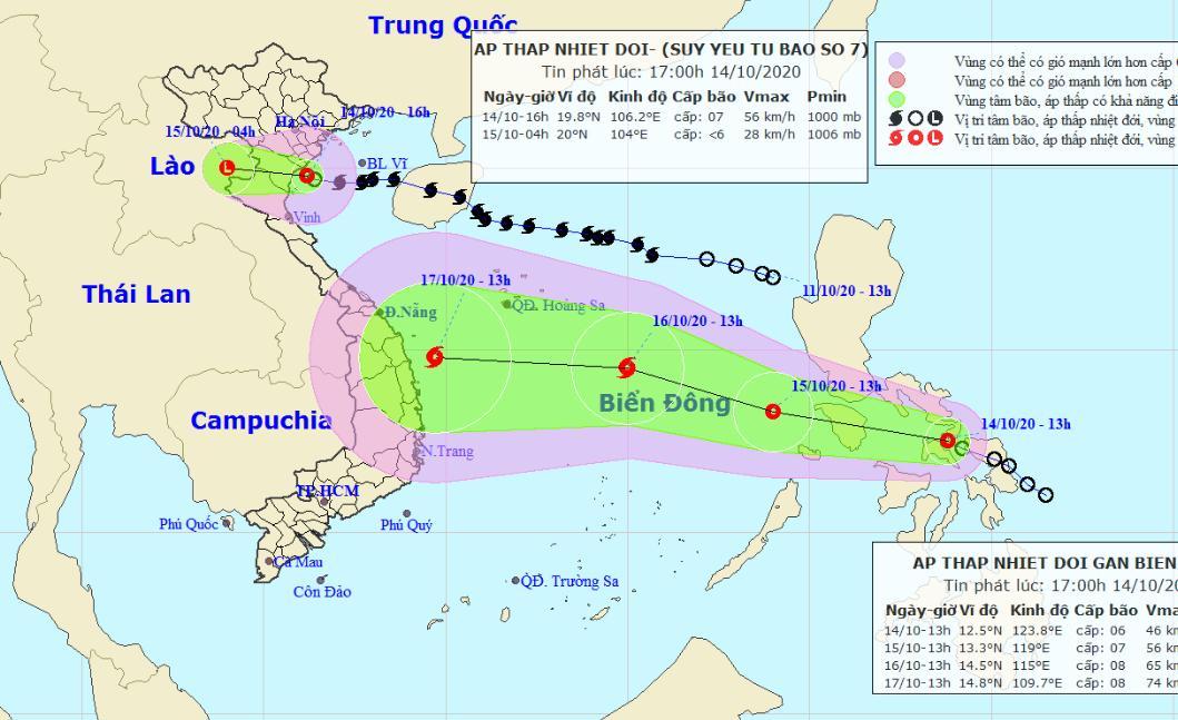 Sơ đồ đường đi của bão số 7 (phía trên) và áp thấp nhiệt đới mới.