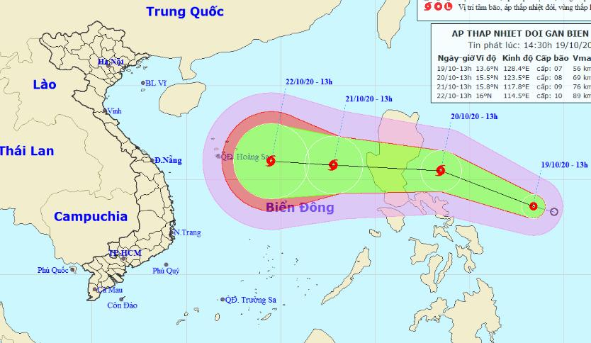 Vị trí và đường đi của áp thấp nhiệt đới. Ảnh: KTTV.