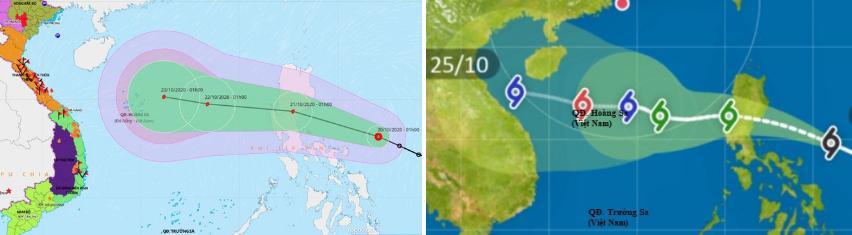 Dự báo đường đi của áp thấp nhiệt đới sau khi vào Biển Đông theo mô hình của Trung tâm Dự báo Khí tượng Thủy văn Quốc gia và Đài khí tượng Hong Kong.