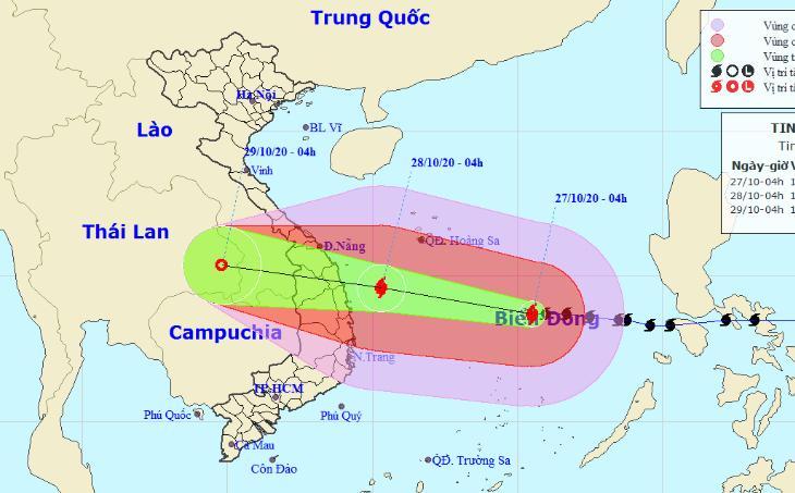 Bão số 9 gió giật mạnh cấp 17 đang áp sát bờ biển các Đà Nẵng - Phú Yên, có khả năng mạnh thêm. (Nguồn: TTDBKTTVQG)
