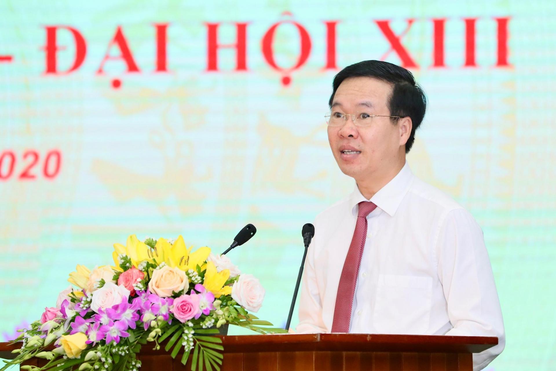 Trưởng Ban Tuyên giáo Trung ương Võ Văn Thưởng phát biểu tại buổi lễ.