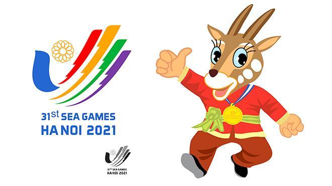 Biểu trưng Cánh chim bay lên-bàn tay chữ V và linh vật (Sao La) của SEA Games 31.