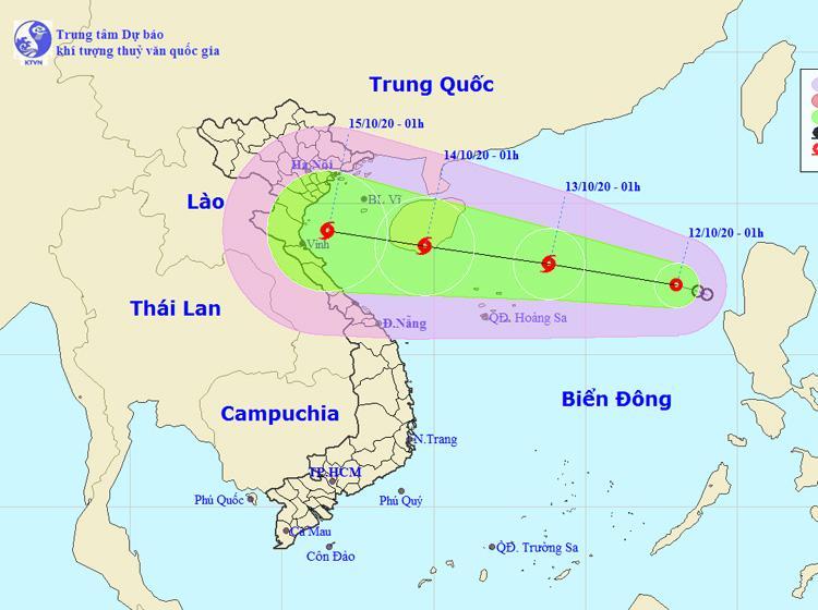 Vị trí của áp thấp nhiệt đới. Nguồn: NCHMF