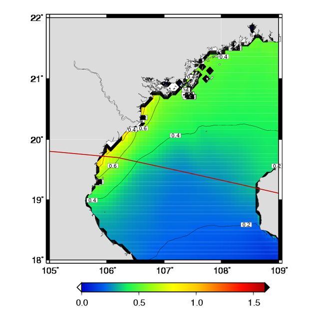 Bản đồ nước biển dâng ở ven biển các tỉnh phía Nam đồng bằng Bắc Bộ và Bắc Trung Bộ, do ảnh hưởng của bão số 7. Nguồn: Trung tâm Dự báo Khí tượng Thủy văn Quốc gia.
