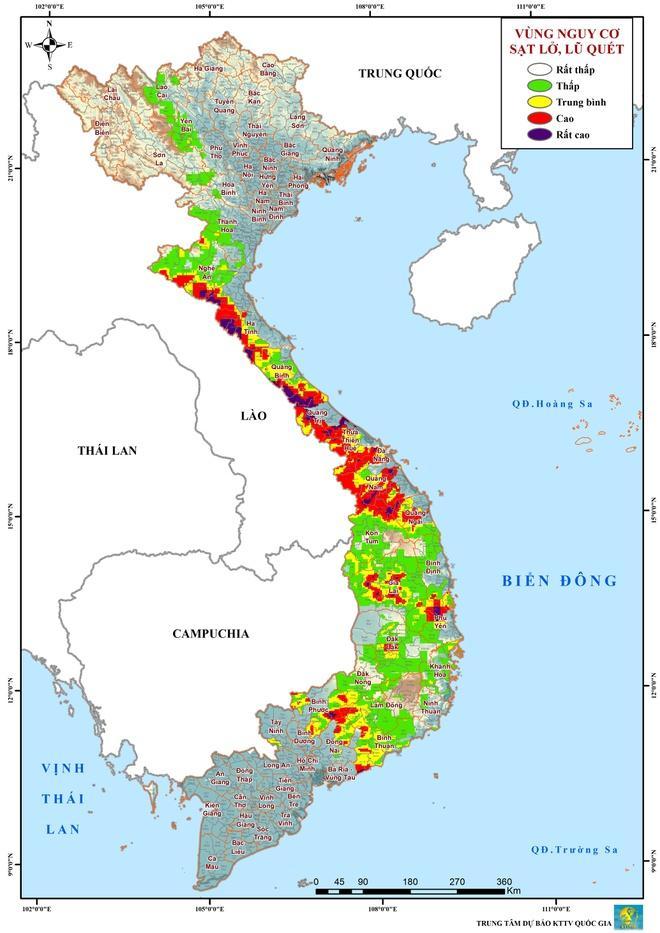 Bản đồ cảnh báo nguy cơ sạt lở ở các khu vực trên cả nước. Ảnh: NCHMF.