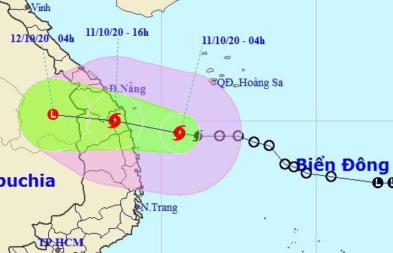 Dự báo đường đi của bão số 6 trong những giờ tới. Ảnh: NCHMF.
