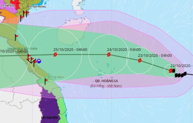 Đường đi của bão số 8 hướng vào các tỉnh từ Nghệ An đến Thừa Thiên - Huế. Ảnh: VNDMS.