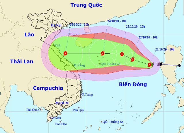 Hướng di chuyển của bão số 8. Nguồn: nchmf