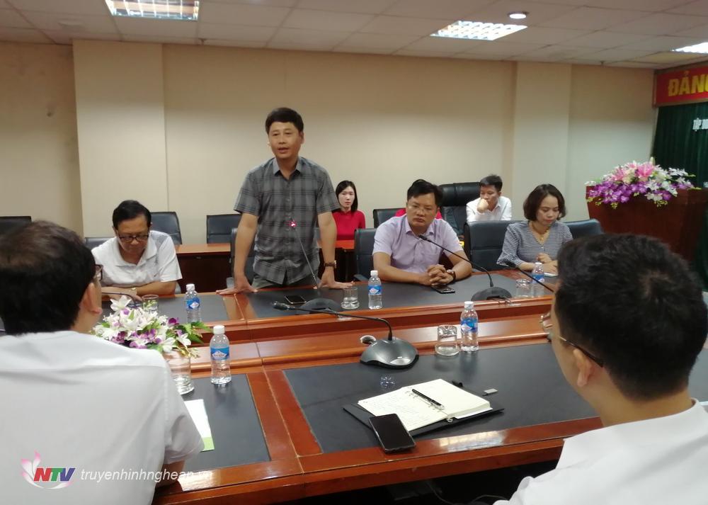 Chủ tịch Hội Nhà báo Nghệ An - Ông Trần Minh Ngọc phát biểu tại lễ ký kết.