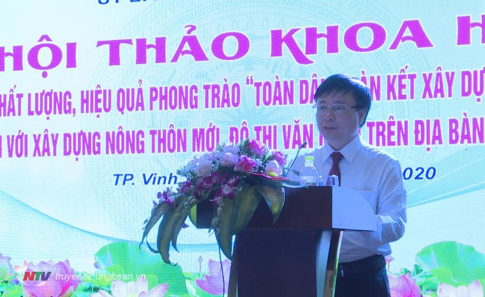 Phó Chủ tịch UBND tỉnh Bùi Đình Long phát biểu tại hội thảo.