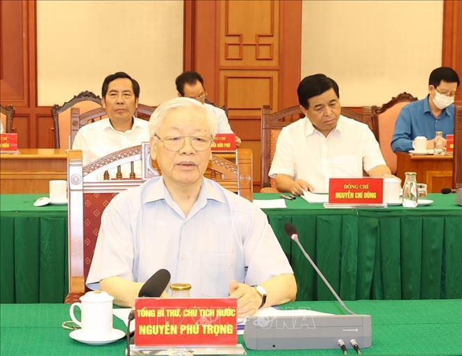 Tổng Bí thư, Chủ tịch nước Nguyễn Phú Trọng, Trưởng Tiểu ban Văn kiện Đại hội XIII của Đảng, chủ trì cuộc họp của Tiểu ban ngày 11/9/2020.
