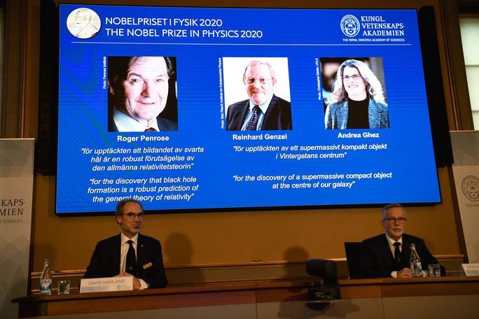 Buổi công bố 3 nhà khoa học đoạt giải Nobel Vật lý 2020 Ảnh: REUTERS