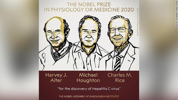 Ba nhà khoa học Harvey J. Alter, Michael Houghton và Charles M. Rice đoạt giải Nobel y sinh 2020 vì đã phát hiện ra virus viêm gan C - Ảnh: The Nobel Prize