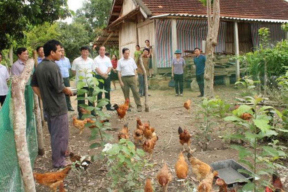trực tiếp đến thăm một số mô hình giảm nghèo, mô hình phát triển sản xuất, xây dựng NTM trên địa bàn xã Châu Hội.