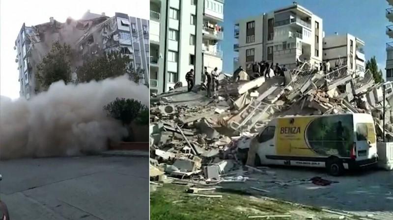 Đội cứu hộ đang làm việc tại một tòa nhà bị sập ở Thổ Nhĩ Kỳ. Ảnh: POLISH NEWS