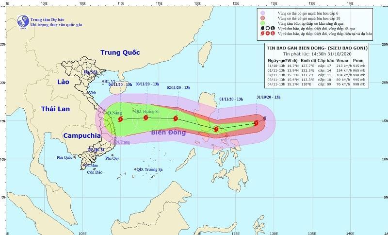 Dự báo đường đi của siêu bão Goni