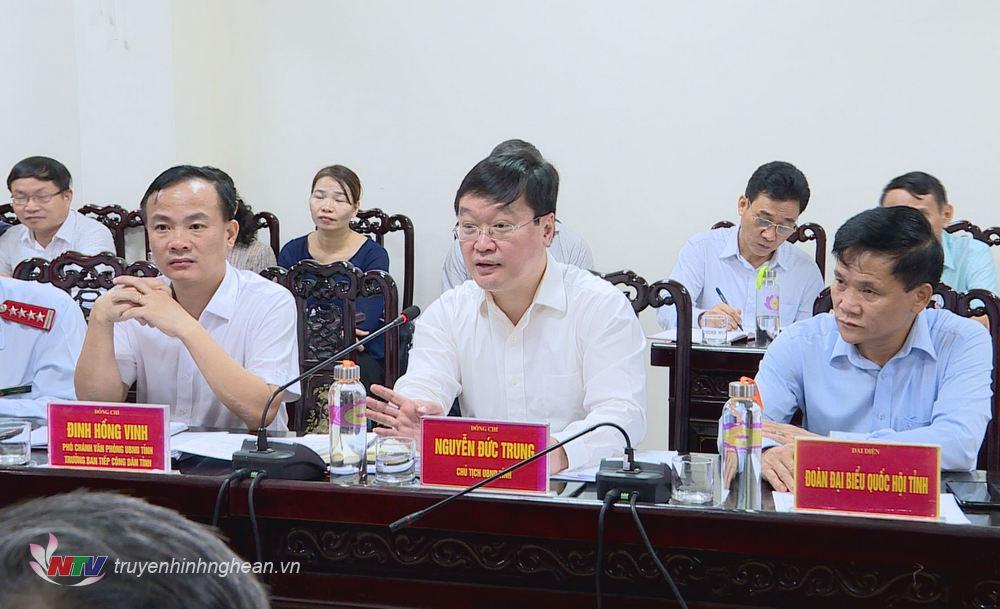 Chủ tịch UBND tỉnh Nguyễn Đức Trung kết luận tại buổi làm việc.