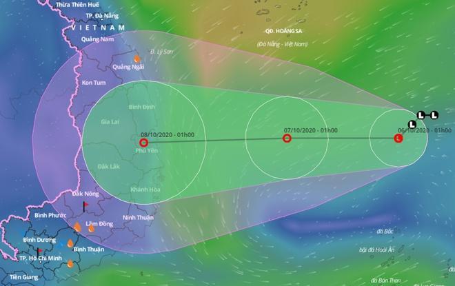 Dự báo đường đi của vùng áp thấp trên Biển Đông những ngày tới.
