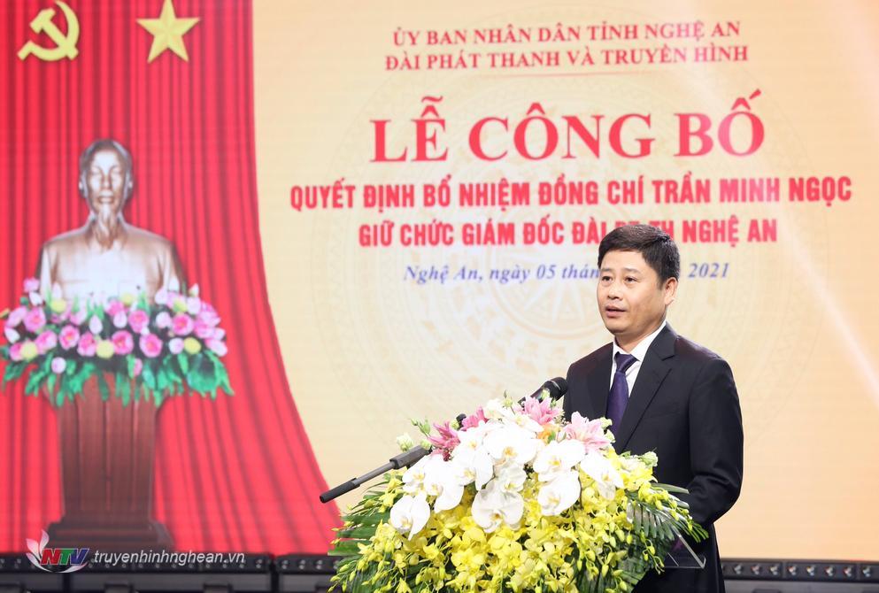 Tân Giám đốc Đài PT-TH Nghệ An Trần Minh Ngọc phát biểu nhận nhiệm vụ.