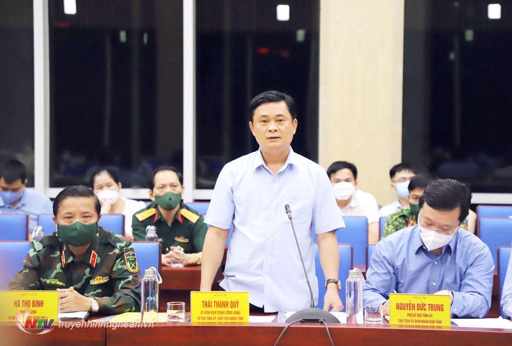 Đồng chí Thái Thanh Quý - Ủy viên Trung ương Đảng, Bí thư Tỉnh ủy phát biểu tại buổi làm việc.