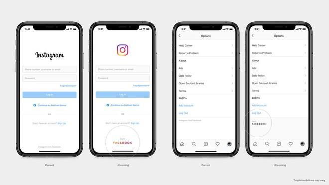 Logo mới của Facebook trên ứng dụng Instagram. Ảnh: Facebook.