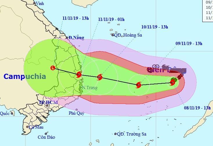 Dự báo vị trí, đường đi của bão số 6. Ảnh NCHMF