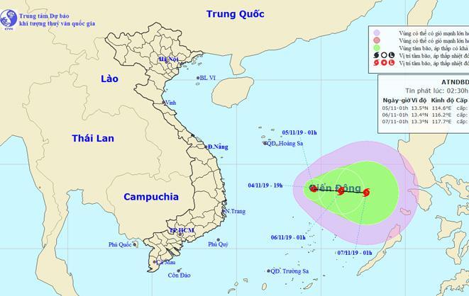 Vị trí và đường đi của tâm áp thấp nhiệt đới. Nguồn: NCHMF.
