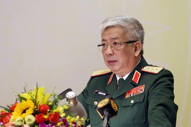 Thượng tướng Nguyễn Chí Vịnh - Thứ trưởng Quốc phòng chủ trì buổi công bố Sách trắng Quốc phòng Việt Nam 2019.