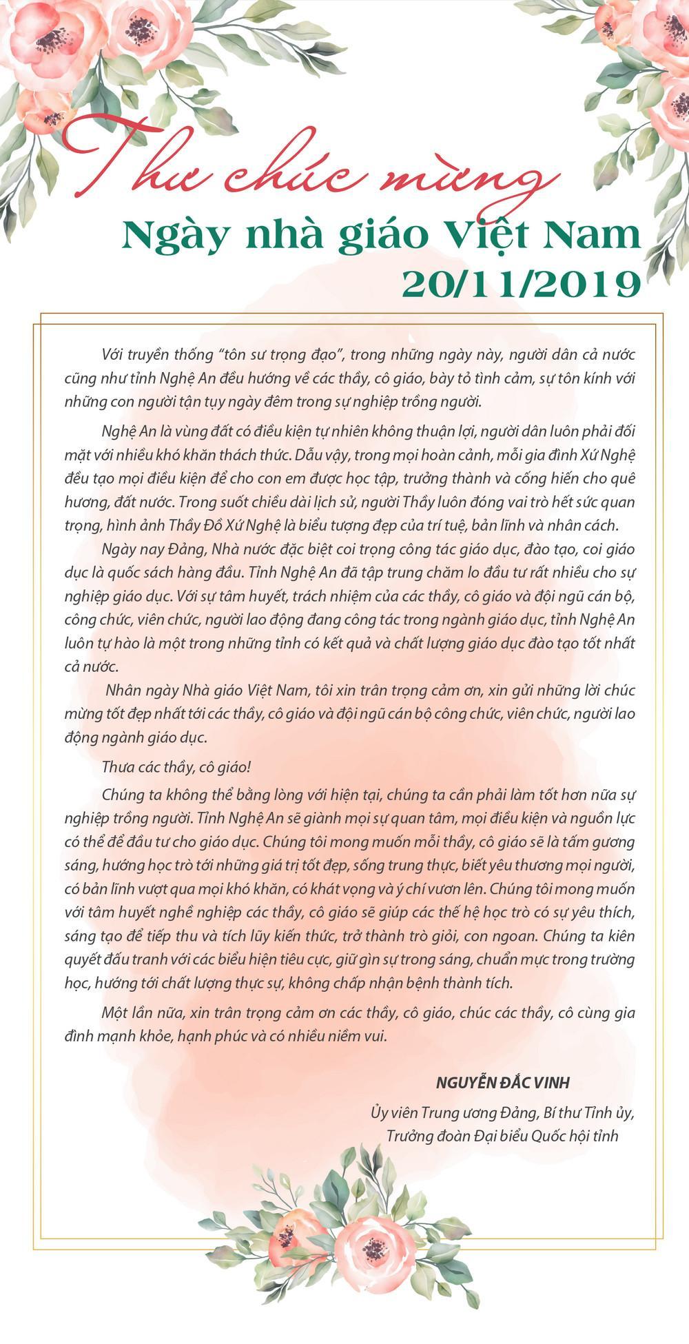 Bí thư Tỉnh ủy Nguyễn Đắc Vinh gửi thư chúc mừng nhân ngày Nhà giáo Việt Nam