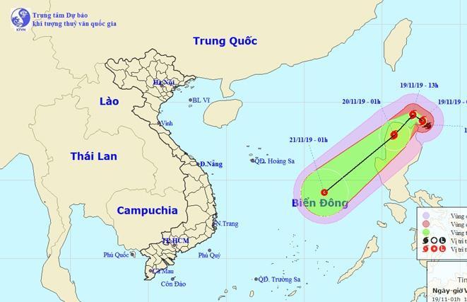 Vị trí và đường đi của bão Kalmaegi.