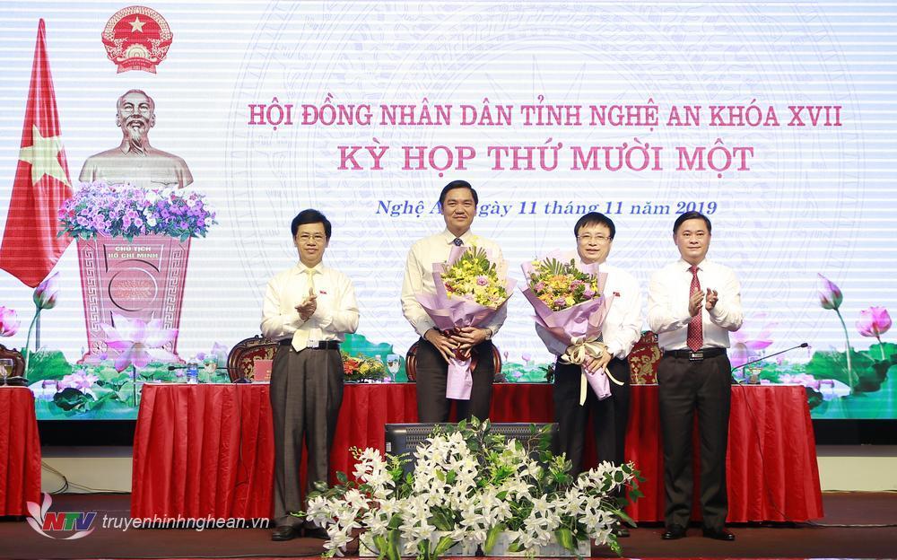 đ/c Hoàng Nghĩa Hiếu và Bùi Đình Long được bầu bổ sung giữ chức Phó Chủ tịch UBND tỉnh nhiệm kỳ 2016-2020.
