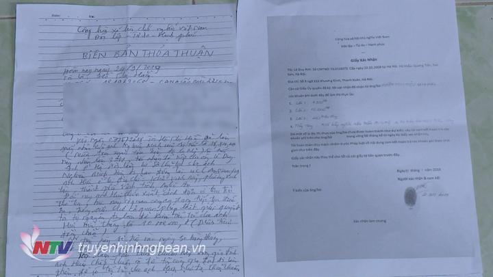   Biên bản thỏa thuận nạn nhân cung cấp.  