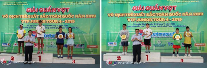 Trao giải nội dung Đơn nữ U18 và Đơn nam U10
