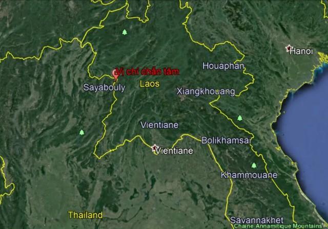 Vị trí xảy ra động đất mạnh ở Lào sáng21/11 (Ảnh: Viện Vật lý địa cầu)