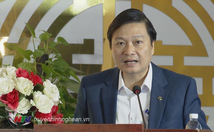 Đồng chí Lê Hồng Vinh - Ủy viên BTV Tỉnh ủy, Phó Chủ tịch UBND tỉnh phát biểu tại buổi lễ.