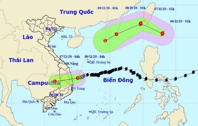 Vị trí và đường đi của áp thấp nhiệt đới và cơn bão Atsani. Ảnh: NCHMF