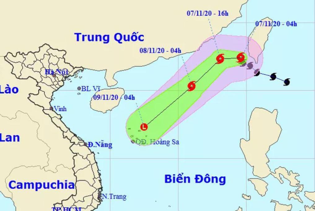 Dự báo vị trí và hướng di chuyển của bão Atsani - Nguồn: Trung tâm Dự báo khí tượng thủy văn quốc gia
